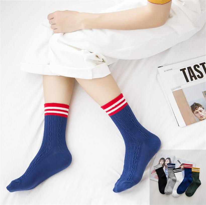 b7cc929d8 2019 New Retro Women Girl 3 Three Striped Cotton Crew Loose Socks Classic  Harajuku Winter In Tube Korean White Black Old School Cool From Edmund02,  ...