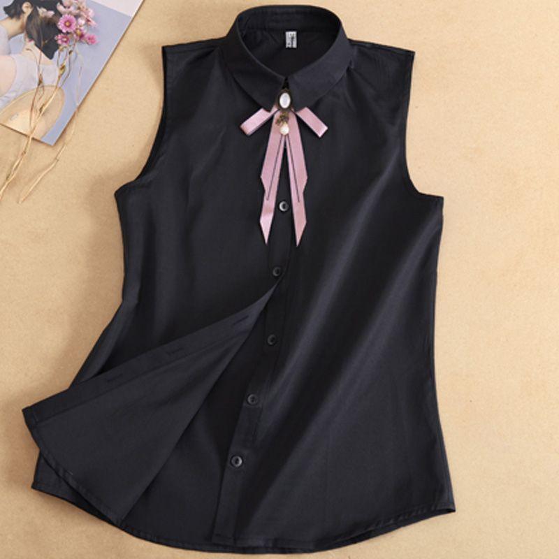 New Bow Decorated Shirt Sleeveless Shirt Womens False Collar Women