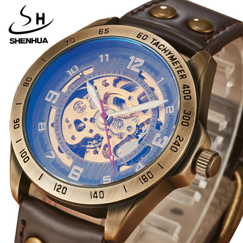 490c704798a Compre Retro Relojes Mecánicos Hombres Antiguo Bronce Esqueleto Steampunk Automático  Relojes De Pulsera De Cuero Reloj Masculino Relogio Masculino 2018 A ...