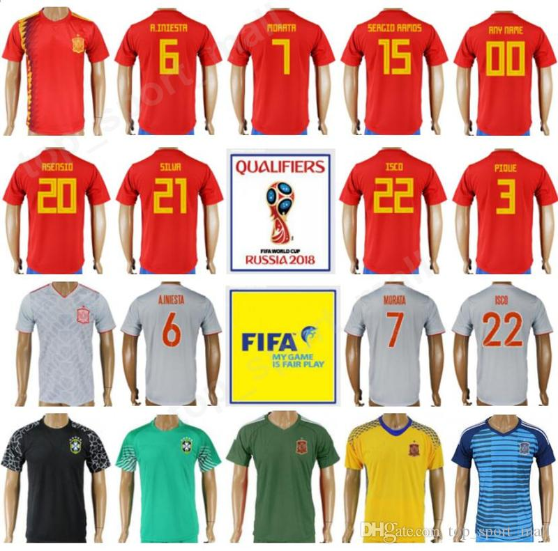 best sneakers 5dc34 39f57 2018 World Cup Spain Soccer Jersey 10 Cesc Fabregas 14 Xabi Alonso Football  Shirt Kits 20 Marco Asensio 18 Jordi Alba 17 Iago Aspas Thai