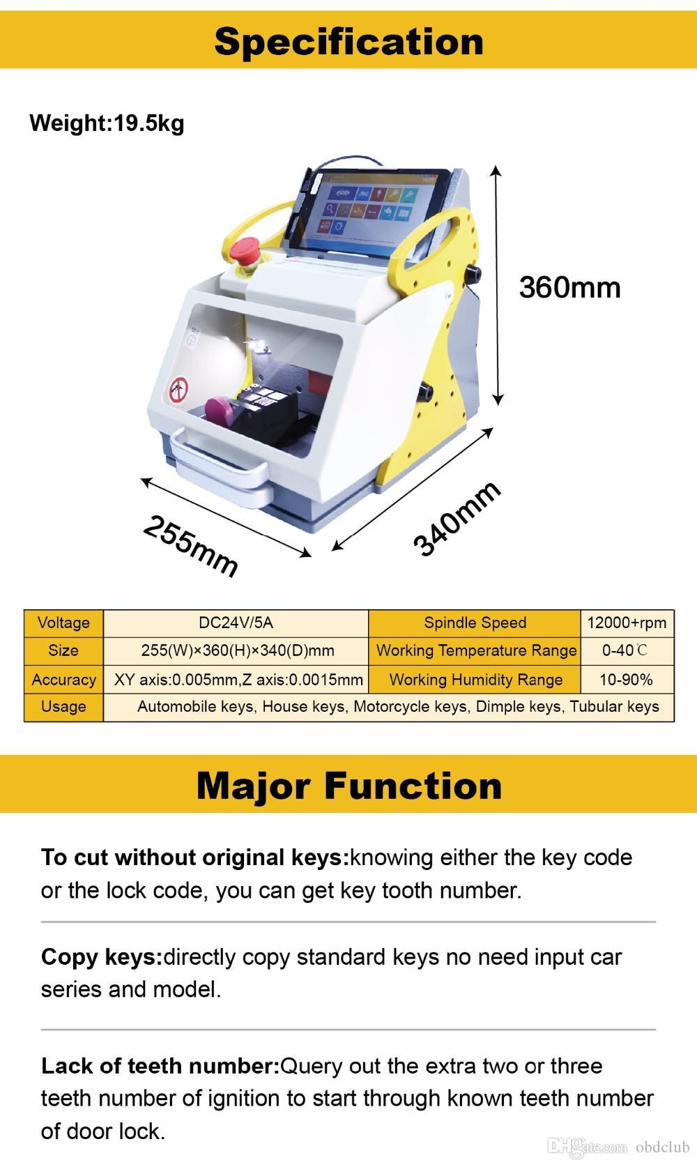 automatic Original SEC E9 Full Clamps CNC Automatic Key Cutting Machine For Car Keys & House Keys Better Than Slica I80 Key Machine