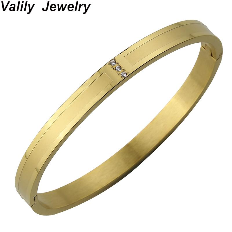 7a1bff2a0c9 Valily Gold Bangle 6/8mm Stainless Steel Bangle&Bracelet For Men Round  Simple Engagement Jewelry For Women Pulsera De Los Hombre Online Bangles  Men Bangles ...