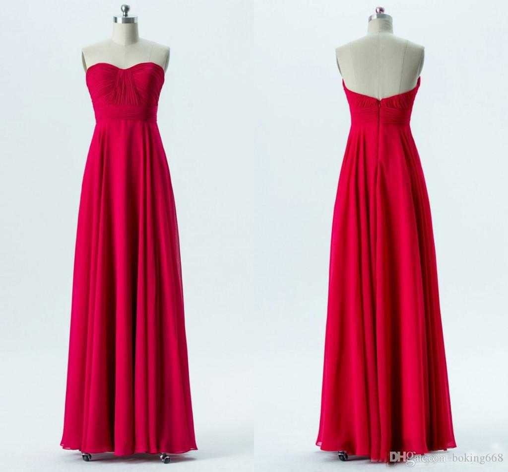 2019 Newest Sweetheart Pleated Chiffon Long Bridesmaid Dresses Aline Strapless Red Bridesmaid Gowns Floor Length Wedding Party Dresses