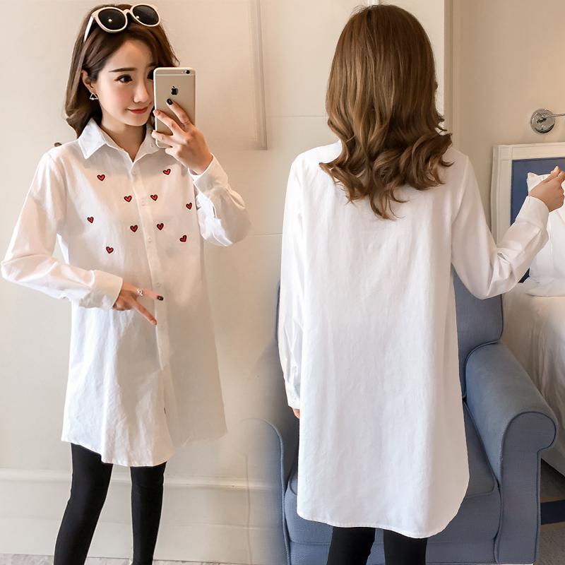official photos 49d6e d1f33 Vestiti primaverili solidi di maternità camicette di gravidanza formali  Camicie di cotone Abbigliamento di maternità di moda di donne incinte 2018