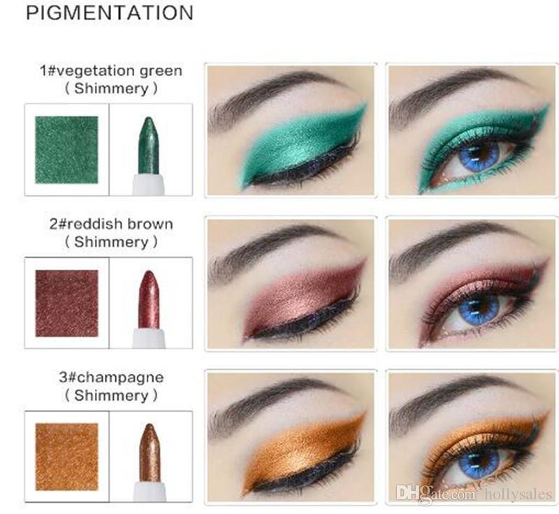 10 Farben / set Schönheit Kosmetik Glitter Lidschatten Bleistift Wasserdichte Bunte Make-Up Pen Eyeliner Glitter Lip Eye Liner bleistift kostenloser versand