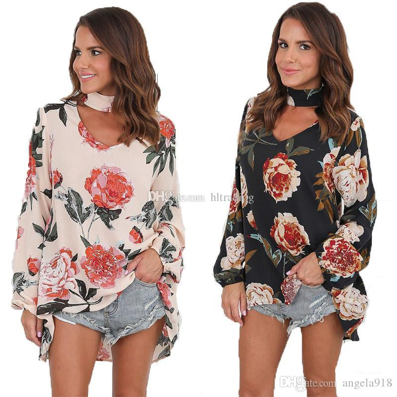 Floral Print V-Neck T shirt for Women Tops Ladies Tees Hanging neck Casual Loose T-shirts Female Plus Size clothing C4905