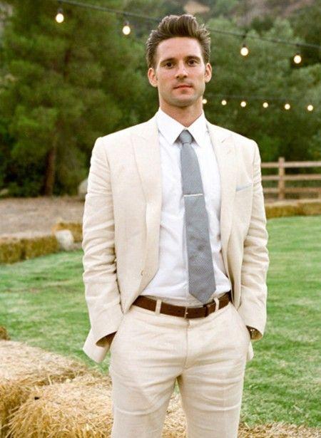 Ausgezeichnete Stil Bräutigam Smoking One Button Leinen Spitze Revers Groomsmen Best Man Anzug Herren Hochzeit Anzüge Jacke + Pants + Tie NR .: 1146