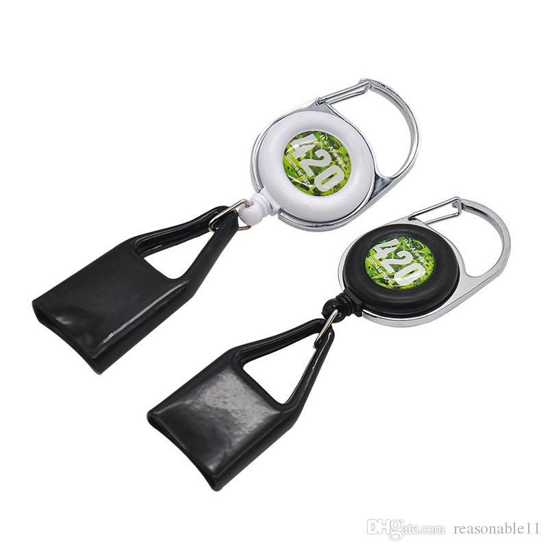 Lighter Leash Safe Stash Clip Retractable Keychain Smile Face Lighter Holder CIGAR CUTTER BLUNT SPLITTER