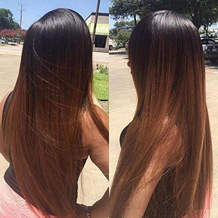 Tam Dantel İnsan Saç peruk Ombre Iki Ton T1B 30 Sarışın Düz Brezilyalı Bakire Saç 150 Yoğunluk Doğal Saç Çizgisi Tutkalsız Ağartılmış Knot