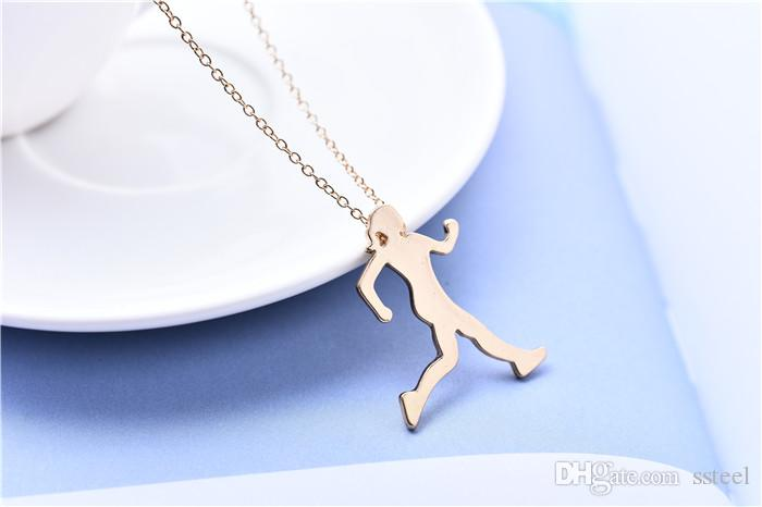 10pcs Running Girl Athlete Woman Pendant Necklace Sports Fitness Workout Exercise Figure Pattern Charm Clavicle Necklace Jewelry for Friends