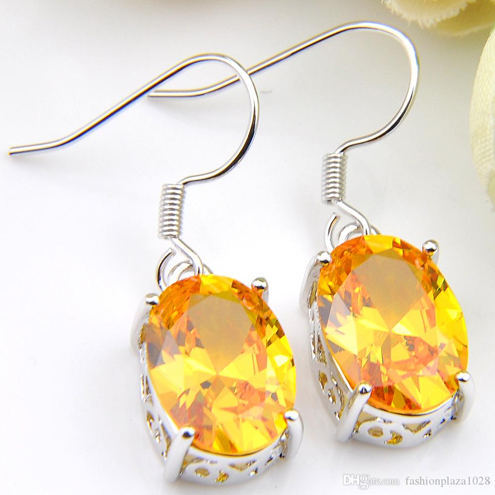 Luckyshine Oval Gold Yellow Citrine Drop Earrings For Women 925 Sterling Silver Plated Russia USA Australia Holiday Gift Jewelry Earrings