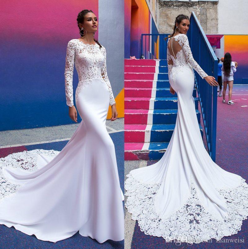 fa7ba8d8a5f 2019 Cheap Mermaid Lace Wedding Dresses Long Sleeves Jewel Neck Bridal Gowns  Button Back Trumpet Satin Vestido De Novia Dresses For Wedding Formal Dress  ...