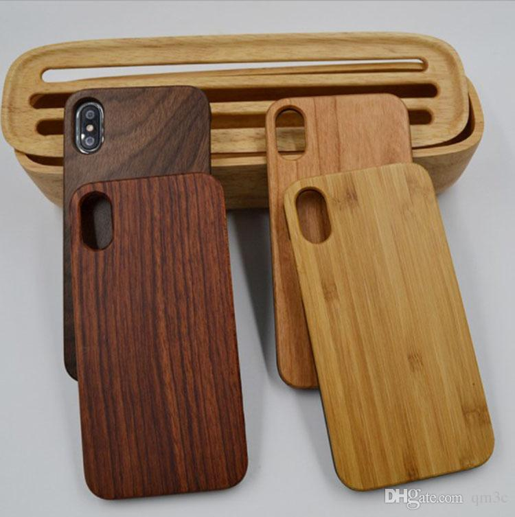 Welcome Custom Design Wood Case For iphone 10 X 7 8 6 6S plus Blank Wooden Bamboo + PC Hard Back Cover Cell phone Case For Samsung S9 S8 S7