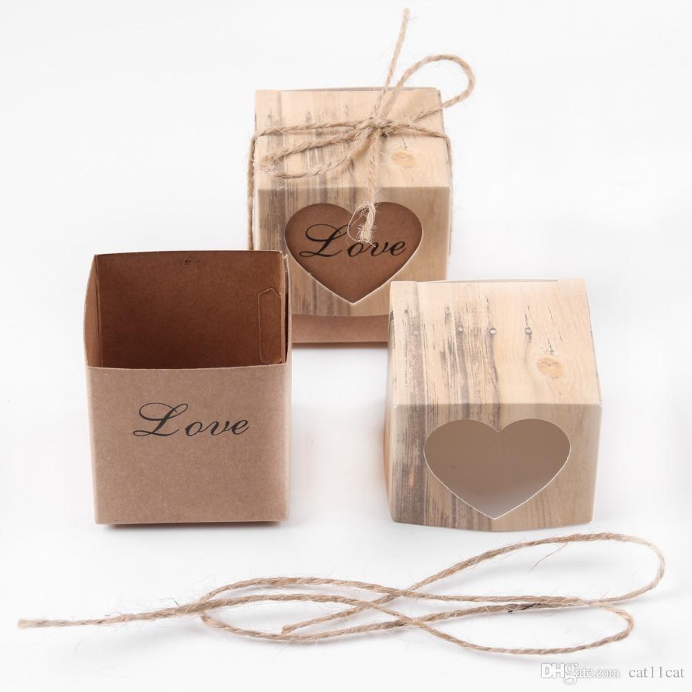 Vintage Kraft Paper Hollow Out Love Heart Favor Gift Box Wedding Birthday Party Handmade Soap Jewelry Candy Wrap Packaging Boxes