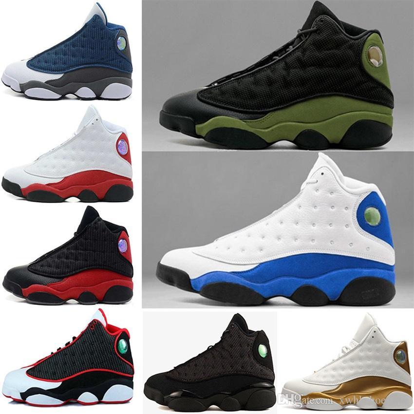 on sale 83301 7adb4 Acquista Nike Air Jordan 1 4 5 6 11 12 13 Aj13 Retro 2018 Scarpe Di Alta  Qualità 13 Uomini Scarpe Da Basket 13s Bred Navy Gioco Ologramma Grigio  Punta Flint ...