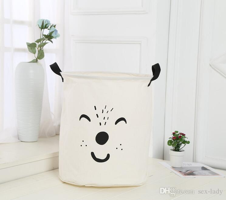 INS Bag INS Cartoon Bear Laundry Bag Kids Room Storage Bags for Toys Household Foldable Laundry Basket Cloth Hamper