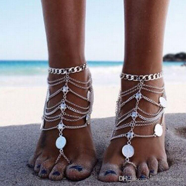 Summer Beach Anklet Bracelet On The Leg Hollow Bohemian Punk Retro Style Multi-Layer Chain Tassel Coin Anklets For Wome