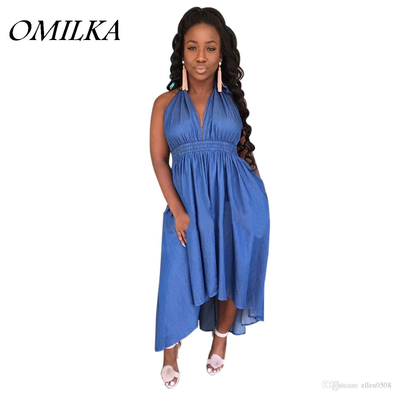 a7cdba257b OMILKA 2018 Summer Women Halter Sleeveless V Neck Backless Denim Dress  Casual Loose Blue Irregular Hollow Out Jeans Long Dress Teenage Dresses For  Sale Long ...