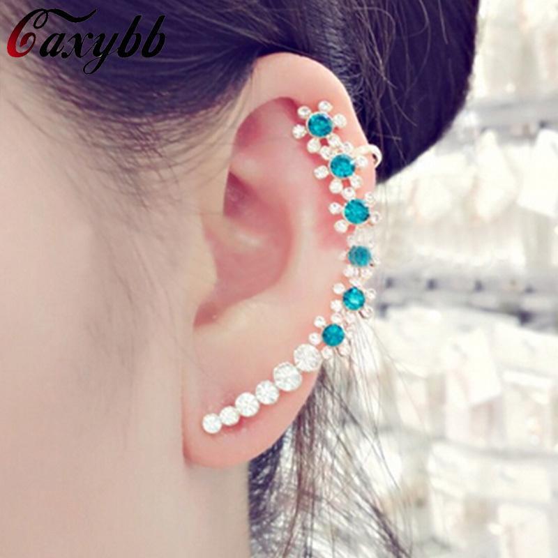 Orecchini di polsini dell'orecchio dei monili dell'orecchino dell'orecchino della clip dell'orecchio di cristallo variopinto coreano i monili delle donne YS-c-c23