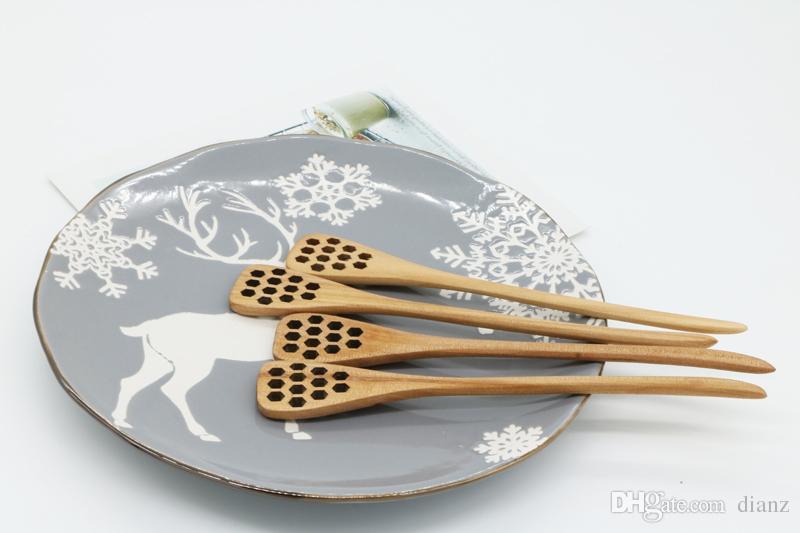 Mode Hot Mignon Bois Creative Sculpture Miel En Remuant Miel Cuillères En Nid D'abeille Sculpté Honey Dipper Cuisine Outil Couverts Accessoire