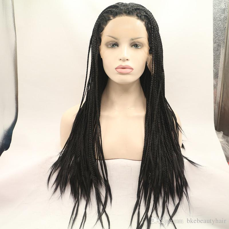 Stock 180density full TWIST Braided wig Synthetic Hair Glueless Lace Front Wigs black / Blonde /brown available Hair Color for women