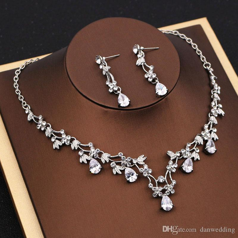 Pendientes de collar de 2 piezas de belleza Collar nupcial de la joyería nupcial de la boda J612002