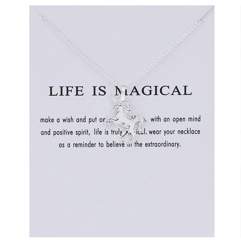 Moda NO Dogeared LOGOTIPO Nueva vida de oro-color es mágica UNICORN Caballo aleación cadena de clavícula colgante Chocker collar de regalo de la joyería Whosales