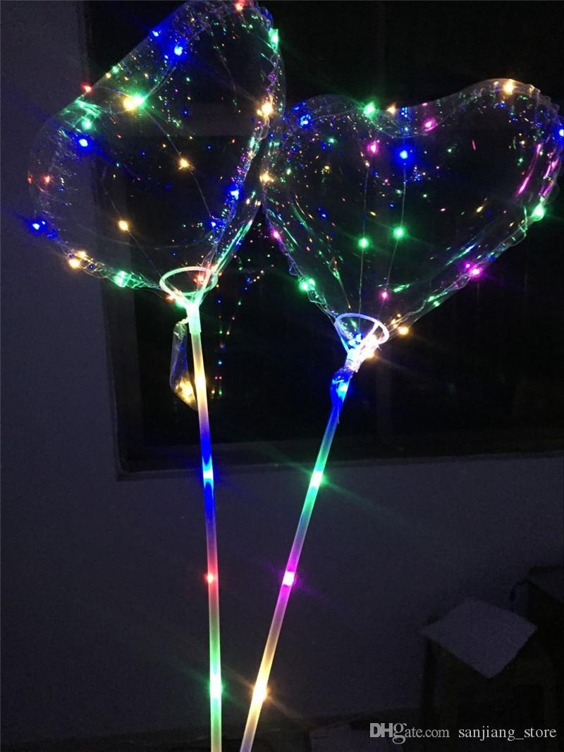 Love Heart LED Luminous Balloon BoBO Ball Flashing Light Transparent Hear Shape Balloons With 80cm Pole for Valentine's Day Weding Party Hot