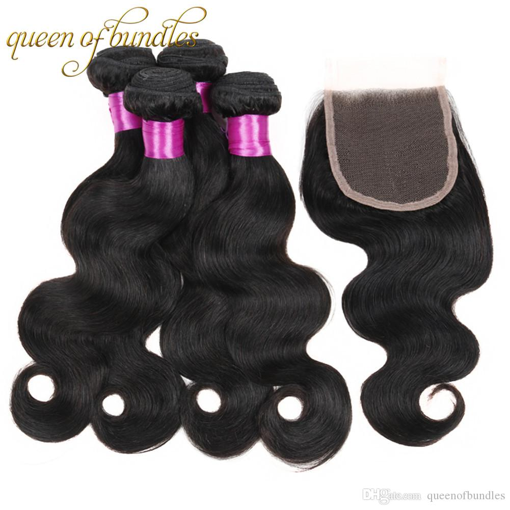 4 Bundles With Closure Malaysian Body Wave 100% Unprocessed Human Hair Weave With Closure Free Shipping Malaysian Virgin Hair