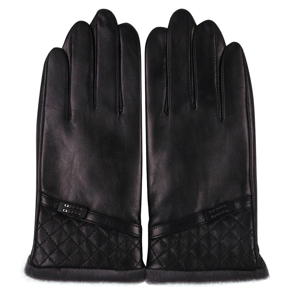 Sheepskin Gloves Male Winter Keep Warm Plush Lined Thicken Driving Touchscreen Genuine Leather Gloves Man M18009NC-9