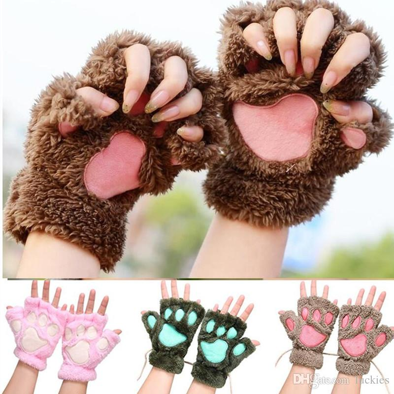 2019 women winter cute fluffy bear plush paw claw gloves. Black Bedroom Furniture Sets. Home Design Ideas