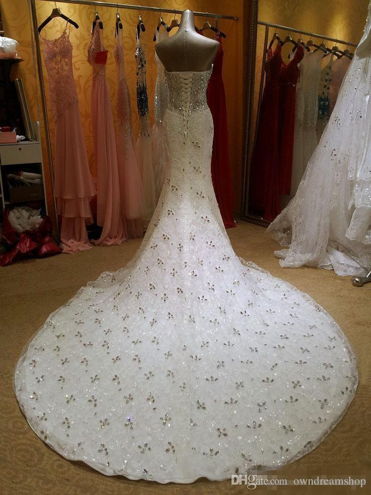 Luxurious Crystal Diamond Beaded Mermaid Wedding Dresses 2018 Sweetheart Lace Up Corset Court Train Bridal Gowns Sexy Custom Made