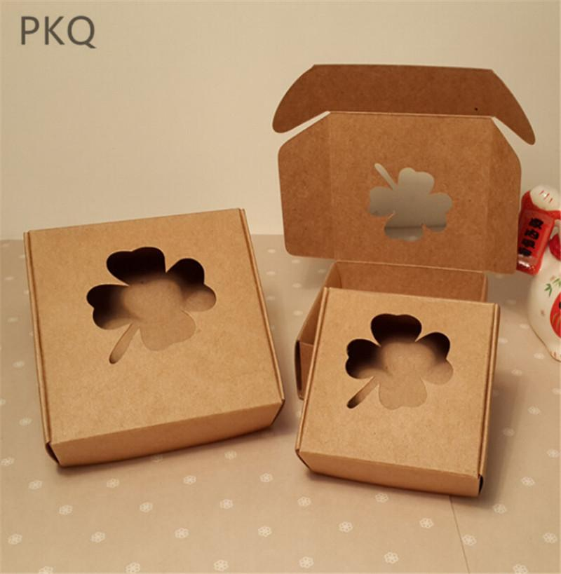100pcs Small Cardboard Paper Box Diy Kraft Paper Wedding Gift Boxes Gift Handmade Soap Packaging Box With Window Brown Carton