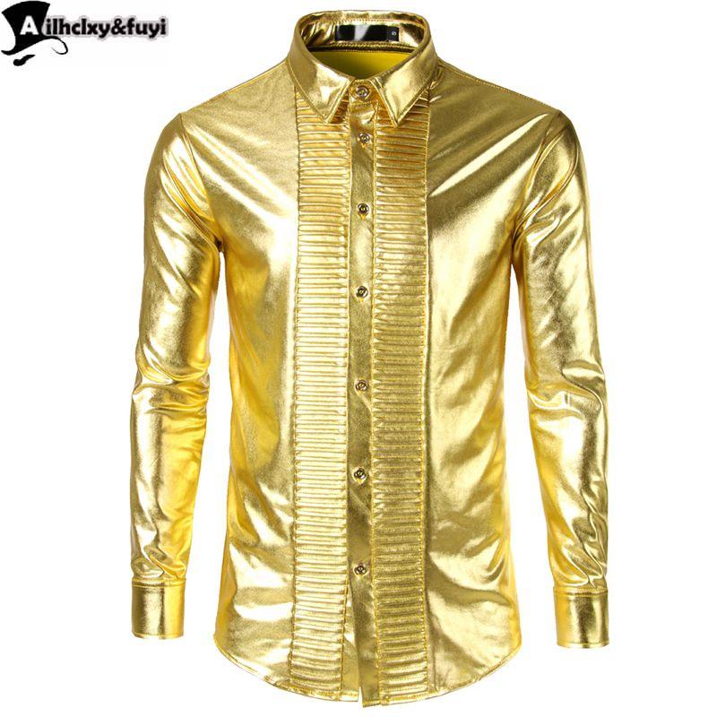 cheap for discount 9faf8 ec5a4 Camicia Uomo Manica Lunga Oro Lucido Streetwear Camisa Hombre Abiti Uomo  Camicia Camicia Casual Slim Fit 2018 Lucida