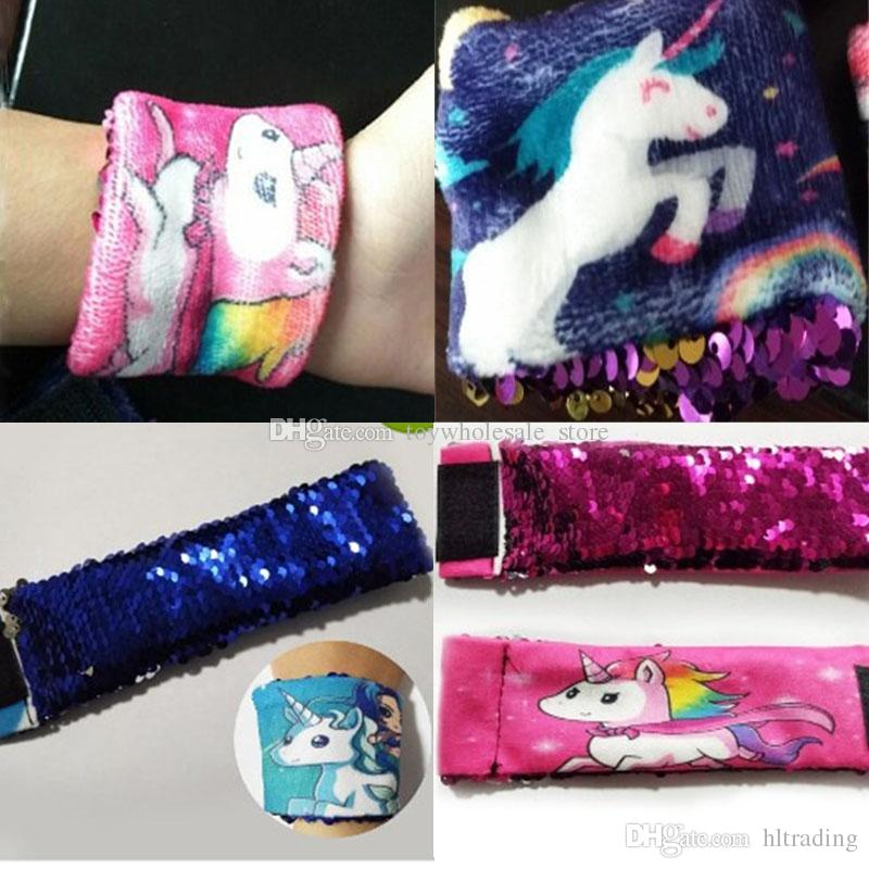 1dc96ce1ab46 Girl Mermaid Bracelets DIY Sequin Unicorn Wristband Stress Reliever Jewelry  Custom Personalized Novelty Design C3684 Baby Earrings Kids Jewellery From  ...