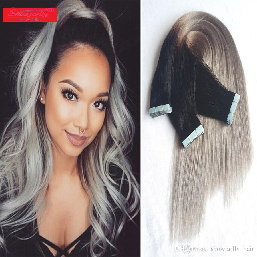 18inch Tape In Remy Hair Extensions Real Human Hair Ombre Black