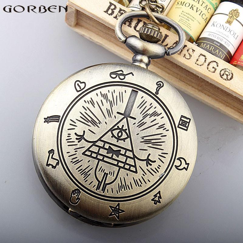 8b9354a23d2 Compre Relógio De Bolso Maçom Bronze Triângulo Maçonaria De Quartzo Flip  Watch Colar Para Mulheres Homens Cadeia Pingente De Presente Meninos  Crianças De ...