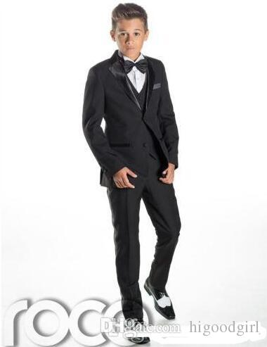 Black Kid's Formal Wedding Groom Tuxedos Flower Boys Children Party Suits Two PiecesJacket + Pants + Bowtie
