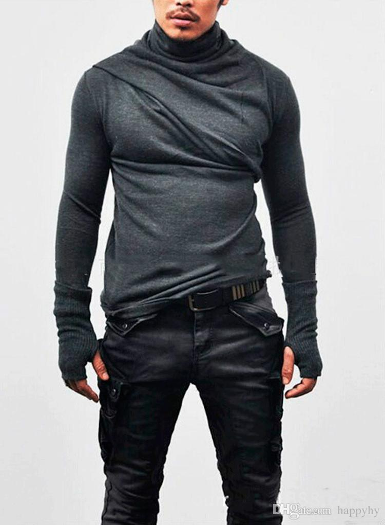 Fashion Korean Casual Heap Collar Long Sleeves Shirt Men Gloves Design Slim Fit T Shirt Long Section Men's Personalized Sweater M-3XL