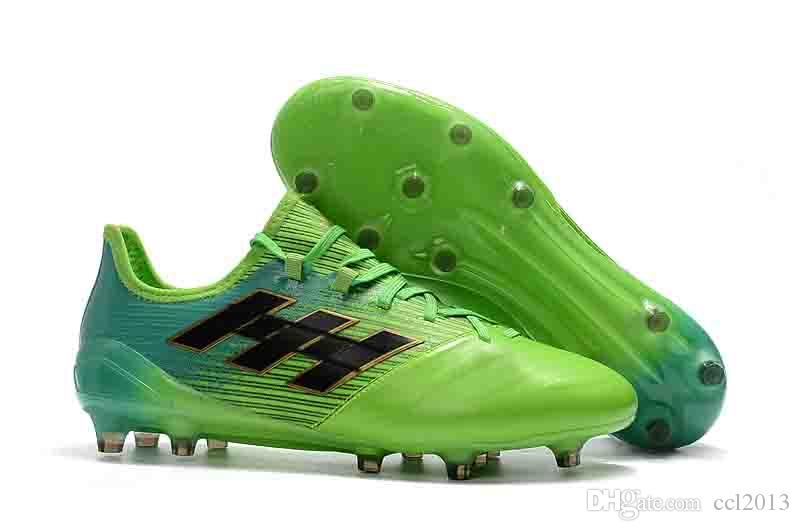 375cc4ed Quality Original Soccer Shoes Football Boots ACE 17.1 Leather FG Messi Mens  Soccer Cleats Football Shoes Light Green Soccer Shoes Soccer Cleats Football  ...
