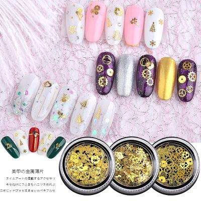 Nu-TATY Japanese Nail Art Jewelry Metal Computer Tablet Christmas Sticker Leaf Gear Golden Super Thin 120pcs Toos nail sticker