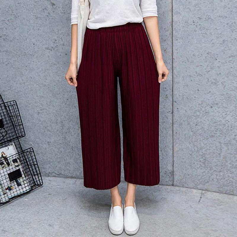 c311b8439a Compre Gasa Plisada Pantalones De Pierna Ancha Mujer Verano 2018 Nueva  Versión Coreana De Pantalón Largo Pantalones De Cintura Alta Sueltos  Pantalones MM A ...