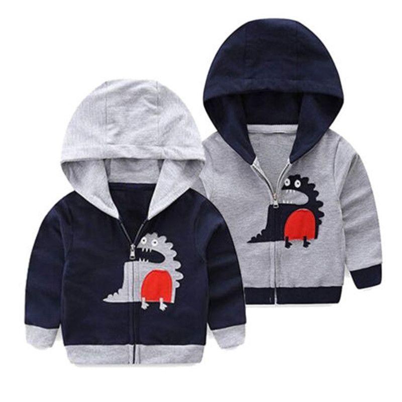 Cartoon Dinosaurier Baby Jungen Kinder Zipper Mit Kapuze Jacke Herbst Frühling Baumwolle Hoodies Mantel Kinder Kleidung Hoodies & Sweatshirts