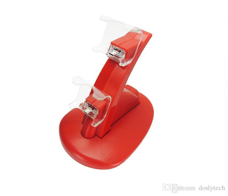 frete grátis Dual USB estação de carregamento ancoragem Charger Stand para Sony Playstation 4 PS4 / PS4 Pro / PS4 Magro Controlador com Cabo
