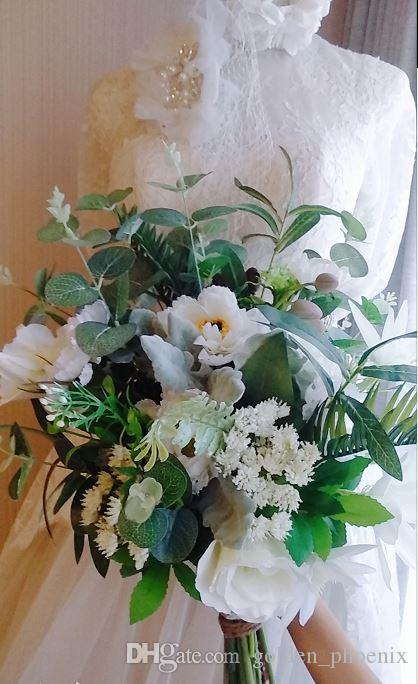 2018 latest french mori style wedding bouquet green leaves with 2018 latest french mori style wedding bouquet green leaves with white flowers fresh chic bridal bouquet flowers types wholesale silk flowers from mightylinksfo
