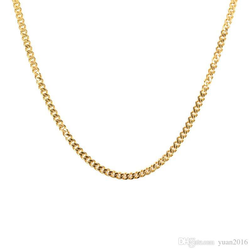 Colar de Corrente de Aço Inoxidável das Mulheres dos homens, Banhado a Ouro, Largura de 3mm