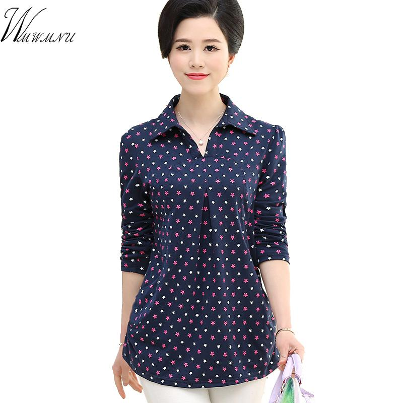 d722b0eea 2019 Plus Size Cotton Blouses Shirts And Flower Print Blouse Tops For  Casual Big Size Ladies Tops From Fenghuangmu, $37.48 | DHgate.Com