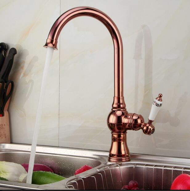 European Rose Gold Kitchen Faucet Hot And Cold Vegetables Basin - Rose gold kitchen faucet