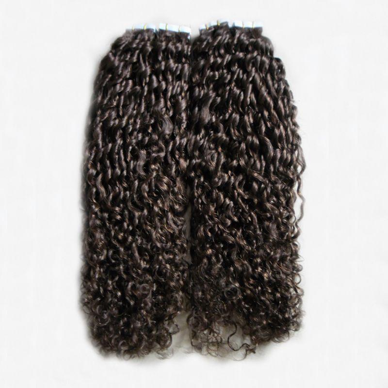 # 2 بني داكن المنغولية غريب مجعد الشعر 200 جرام الشريط المجعد