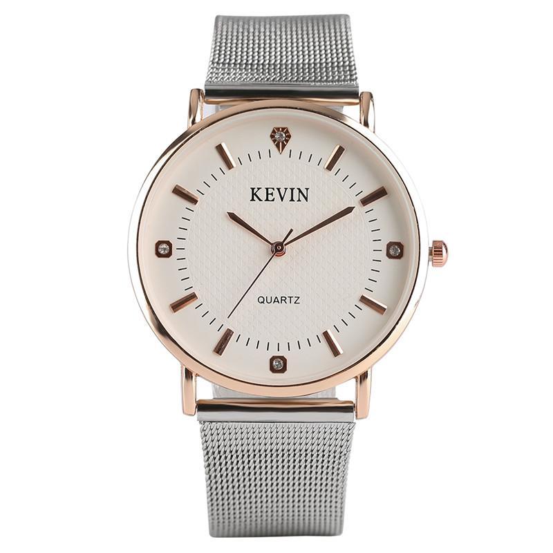 ba40af67138f4 Compre KEVIN Simples Moda Feminina Quartzo Relógio De Pulso De Cristal De  Design De Aço Inoxidável   Pulseira De Couro Relógios Casuais Melhor  Presente ...